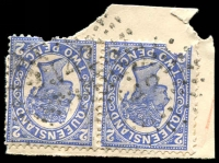 Lot 1330:142: 2 strikes of rays on 2d 4-Corners pair.  Allocated to Ilfracombe-PO 7/12/1891.