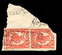 Lot 1598:Queenton: two-lined '[RE]GISTERED/[QU]EENTON' on 1d pair 4-Corners (1x faulty) tied by small part of unframed Queenton cds.  RO c.1880; PO 15/11/1883; closed 31/7/1977.