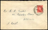 Lot 1653:Adelaide: - 'ADELAIDE/11A16MY49/INWARD LATE FEE' on 2½d red KGVI, to Adelaide.  PO 10/4/1837.