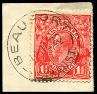 Lot 1637:Beaufort: - 'BEAUFORT/14JL20/STH AUST.' on 2d red KGV.  PO 1/2/1892; closed 8/11/1958.
