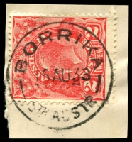 Lot 1661:Borrika: - 'BORRIKA/15AU33/STH AUSTR' on 2d red KGV.  RO 27/1/1913; PO c.1914; CMA 18/1/1993.