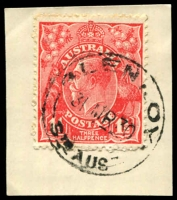 Lot 1674:Glenroy: - 'GLENROY/31MR30/STH AUST' on 1½d red KGV.  Renamed from Glen Roy PO c.1916; closed 31/1/1969.