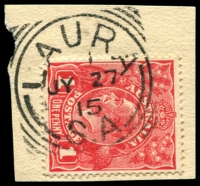 Lot 1680:Laura: - 27mm squared-circle 'LAURA/1/JY27/15/S.A' on 1d red KGV.  PO 9/9/1872.