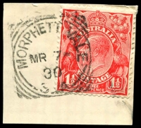 Lot 10118:Morphett Vale (1): - 25mm squared-circle 'MORPHETT VALE/MR7/30/S_A' on 1½d red KGV.  PO c.1841; renamed Morphett Vale Central PO 1/11/1968.