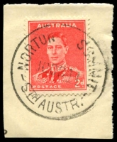 Lot 1697:Norton's Summit: - 'NORTON   SUMMIT/16OC41/STH AUSTR' ('S' removed) on 2d red KGVI. [Rated R]  PO 10/8/1863.