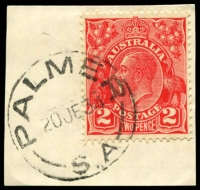 Lot 1700:Palmer: - 'PALMER/20JE34/S.A' on 2d red KGV.  PO 1/11/1868.