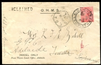 Lot 10318:Sedan: - squared-circle 'SEDAN/JU30/02/S-A' on face of unclaimed Parcel Only OHMS cover (opened-out, small tear at back) franked with 1d red DLR 'OS' overprint, double-circle Adelaide 1 May 1902 cancel, various Sedan, squared-circle Angaston, Towitta and DLO backstamps.  PO c.1872.