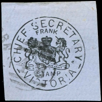 Lot 1989:48: right half 2nd duplex on 'CHIEF SECRETARY' frank stamp.  Allocated to Hawthorn-PO 1/1/1854; replaced by Hawthorn Business Centre BC 24/10/1997.