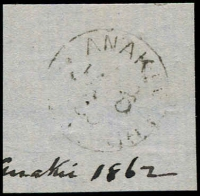 Lot 2165:Anakie: - WWW #10 framed 'ANAKIE/JA6/6?/[VICTO]RIA' on piece with 'Anakie 1862' written below. [Rated 5R]  PO 15/10/1858; LPO 15/10/1993.