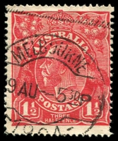 Lot 680:1½d Red Die I - BW #90(17)p [17R22] Retouched SW corner, Cat $90