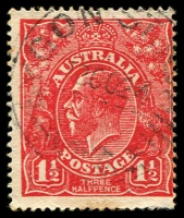 Lot 346:1½d Red Die I - [17R53] Vertical white flaw on 5th bloom of left wattles etc - State II - break in vertical shading line in King's neck, some toned perfs.