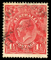 Lot 677:1½d Red Die I - [17R58] Notch on TRC, small tone spots on back.