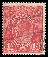 Lot 539:1½d Red Die I - [18L34] Vertical white flaw on roo's ankle.