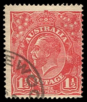 Lot 2338:1½d Red Die I - [18R6] Break in coloured oval above LI of ALIA - ACCC State II - white dot above King's head.