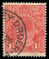 Lot 349:1½d Red Die I - [18R29] Left end of shading lines missing adjacent to 4th bloom in right wattles etc.
