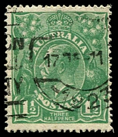 Lot 1246:1½d Green Die I BW #88(12)f [12L34] Flaw through PO of POSTAGE, Cat $30