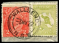 Lot 182:3d Olive Die I BW #13(2)m [2R54] White scratch from value circle to EN of PENCE' on piece with 2d red KGV (fault), cancelled with 'WALLSEND/3MY22/=N.S.W=' (A1), one short perf, Cat $125.