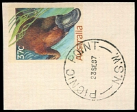 Lot 1041:Picnic Point: - 'PICNIC POINT/23SE87/N.S.W.' (Closing day) on 37c PSE piece.  PO 2/1/1936; closed 23/9/1987.