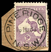 Lot 1385:Pine Ridge (2): - 'PINE RIDGE/16NO3?/N.S.W' on 9d Roo.  PO 1/1/1886; closed 29/5/1985.