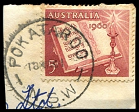 Lot 1388:Pokataroo: - 'POKATAROO/18MR61/N.S.W' on 5d Xmas.  Renamed from Collarenebri East PO 15/9/1913; closed 24/7/1965.