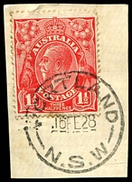 Lot 1044:Portland: - 'PORTLAND/16FE28/N.S.W' on 1½d red KGV.  PO 16/6/1891.