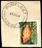 Lot 7270:Purfleet: - 'PURFLEET/27JE84/NSW-AUST' on 30c Fish.  PO 1/11/1966; closed 15/9/1988.
