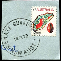 Lot 7276:Quakers Hill R.A.N.A.T.E. P.O.: - 'R.A.N.A.T.E. QUAKERS HILL/18SE73/NSW-AUST' on 7c Agate.  Renamed from Schofields R.A.N.A.S. PO 2/1/1958; closed 31/1/1994.
