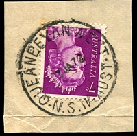 Lot 1400:Queanbeyan West (2): - 'QUEANBEYAN WEST/7JA72/N.S.W AUST' on 7c purple QEII.  PO 1/4/1947; closed 21/11/1978.