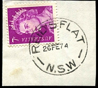 Lot 1413:Reid's Flat: - 'REID'S FLAT/26FE74/N.S.W' on 7c purple QEII.  PO 1/4/1859; closed 31/12/1977.