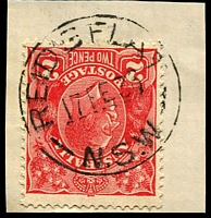 Lot 1051:Reid's Flat: - 'REID'S FLAT/17FE36/N.S.W' on 2d red KGV.  PO 1/4/1859; closed 31/12/1977.