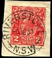 Lot 1416:Riverstone: - 'RIVERSTONE/6JE33/N.S.W' on 2d red KGV.  PO 1/1/1877.