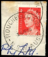 Lot 1427:Rouchel Brook: - 'ROUCHELBROOK/24JE66/N.S.W-AUST' on 4c red QEII.  Renamed from Rouchell Brook PO 26/11/1929; closed 28/2/1975.