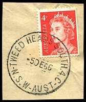 Lot 1490:Tweed Heads South: - 'TWEED HEADS SOUTH 4.C/5DE66/N.S.W-AUST' on 4c red QEII.  PO 1/7/1950.
