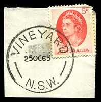 Lot 1158:Vineyard: - 'VINEYARD/25OC65/N.S.W.' (LRD) on 5d red QEII.  Renamed from The Vineyard PO 1/7/1902; closed 5/8/1967.