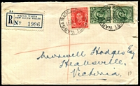 Lot 7206 [1 of 2]:Wagga Wagga: - 2 strikes of 'WAGGA WAGGA PARCEL POST/12AP48' (A1 backstamp) on 1½d green QE pair & 2½d red KGVI on cover with with registration label.  PO 1/1/1849.