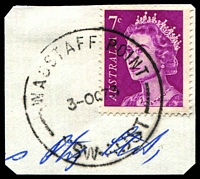 Lot 1518:Wagstaff Point: - 'WAGSTAFF POINT/3OC73/NSW-AUST' on 7c purple QEII.  RO 15/11/1910; PO 15/6/1914; closed 31/3/1987.