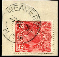 Lot 7165:Weaver's: - 'WEAVER'S/7FE33/=N.S.W=' (ERD) on 2d red KGV.  RO 1/1/1927; PO 1/7/1927; renamed Maroota PO 1/5/1956.
