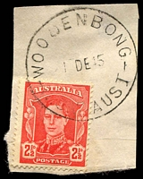 Lot 1240:Woodenbong (2): - 'WOODENBONG/1DE45/N.S.W-AUST' (ERD) on 2½d red KGVI.  RO 19/11/1900; PO 16/10/1905.