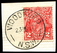 Lot 1577:Woodford (3): - 'WOODFORD/23NO37/N.S.W' on 2d red KGV (cut-to-shape).  PO 19/8/1907.