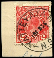 Lot 7430:Yatteyatah: - 'YATTEYATAH/19FE36/N.S.W.' (ERD) on faulty 2d red KGV.  PO 1/2/1874; closed 20/6/1973.