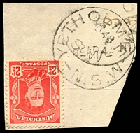 Lot 1611:Yetholme: - 'YETHOLME/2AP48/N.S.W' on 2½d red KGVI, partly o/struck with a lighter, second strike.  Renamed from Frying Pan PO 1/4/1865; closed 31/12/1974.