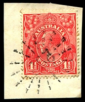 Lot 1041:292: '292' rays (3R16) on 1½d red KGV. [Rated S]  Allocated to Charcoal Creek-PO 1/10/1860; renamed Unanderra PO 7/4/1881.