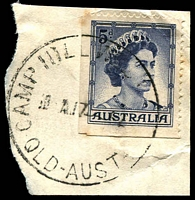 Lot 8070:Camp Hill West: - 'CAMP HILL WEST    /10A17??62/QLD-AUST' ('S.E.6' removed) on 5d blue QEII. [Rated R]  PO 7/12/1955; closed 30/4/1979.