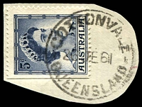 Lot 1857:Cottonvale: - 'COTTONVALE/26JE61/QUEENSLAND' (LRD) on 5d blue QEII.  Opened as RO 1/11/1920; PO 21/1/1921.