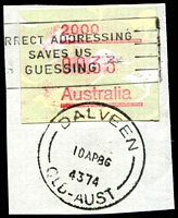 Lot 7286:Dalveen: - 'DALVEEN/10AP86/4374/QLD-AUST' (ERD) on 33c Frama. [Rated 3R]  Replaced Cherry Gully PO 16/5/1881.