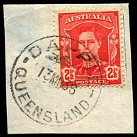 Lot 1430:Dappil: - 'DAPPIL/13MR36/QUEENSLAND' (date error) on 2½d red KGVI. [Rated 2R]  RO 10/1/1909; PO c.-/1/1910; closed 6/8/1954.