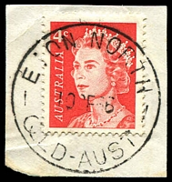 Lot 1899:Eton North: - 'ETON NORTH/10?E66/QLD-AUST' on 4c red QEII. [Rated S]  Renamed from Savannah PO c.-/7/1937; closed 30/11/1981.