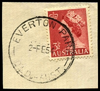 Lot 1446:Everton Park: - 'EVERTON PARK/2-FE54/QLD.-AUST.' (ERD) on 3½d red QEII.  RO c.-/1/1899; PO 1/7/1927.