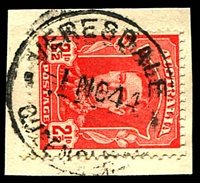 Lot 2025:Veresdale: - 'VERESDALE/1NO44/QUEENSLAND' (recut - ERD) on 2½d red KGVI. [Rated 3R]  PO 1/1/1874; closed 4/8/1951.