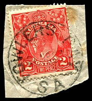 Lot 9338:Fowlers Bay: - 'FOWLERS BAY/21MR23/SA' (no arcs) on 2d red KGV.  PO 1/5/1865; closed 18/9/1967.